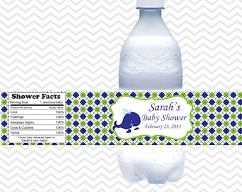 Preppy Whale Blue Baby Shower Birthday  - Personalized water bottle labels - Set of 5  Waterproof labels