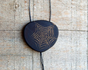 Tribal Arachne Mysterious Cryptic Natural Wooden Cypress Knee Spider Web Pendant Necklace by Tanja Sova