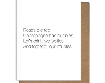 Champagne Poem Roses are Red Funny Letterpress Greeting Card