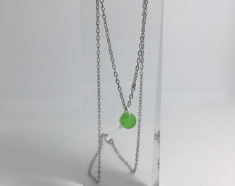 Small green Lollipop resin cast necklace, pendant charms handmade. By Emily M A Parkin
