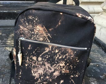 Hand Treated Dyed Black Canvas Backpack, Black and White Canvas Knapsack