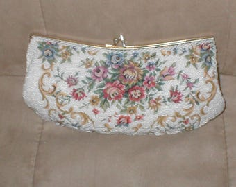 Vintage Tapestry Purse with White Beading by MAGID