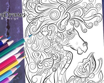 Intricate horse and flowers colouring page- Instant digital download- Relax & have fun!