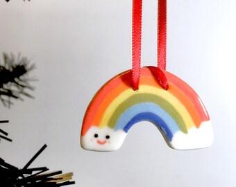 ceramic rainbow/gift for rainbow lover/porcelain rainbow/rainbow wall hanging/rainbow decoration/smiling rainbow/rainbow art/weather gift