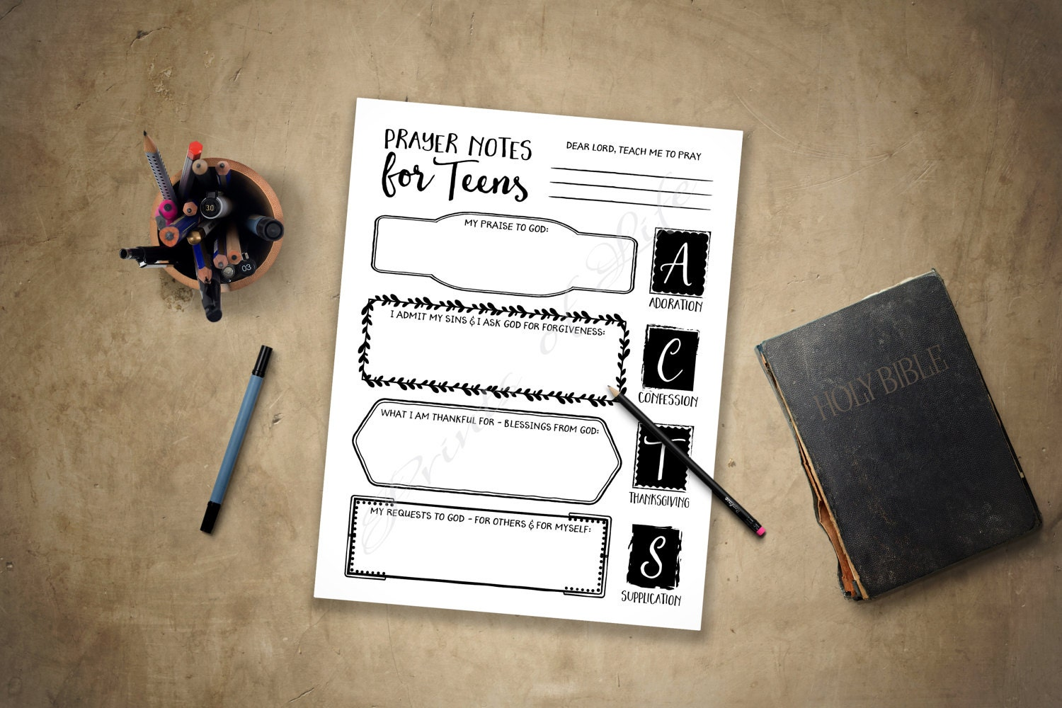 Prayer Notes For Teens Pdf Printable Instant Download Acts-5273