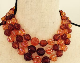 Vintage Triple Strand fall colors rusty costume jewelry necklace