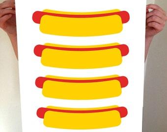Hot Dogs! Hot Dog Print, Hot Dog Art, Hot Dog, Hot Dog Poster, Hot Dog Artwork, Kitchen, Kitchen Art, Kitchen Poster, Kitchen Print