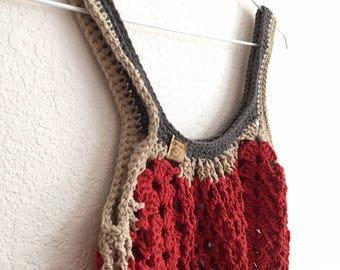 Boho Market Bag~PumpkinThree Color Crochet Tote Bag~Reusable Shopping Bag~Beach Bag~Market Tote~Crocheted Grocery Bag~orange~grey~kraft