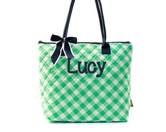 Monogram Quilted Tote Bag -Small Personalized Quilted Tote- Quilted Mint Plaid Tote Bag- Personlaized Gift Tote Bag