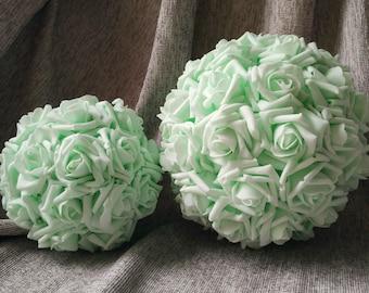 Mint Kissing Balls Pomanders Foam Rose Flower Balls 9 inches For Wedding Decor Centerpieces Flower Girl Bouquets LZHQ-03