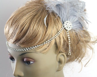 Grey feather flapper headpiece - ladies vintage bridal hairpiece - feather clip