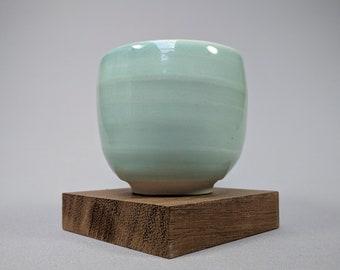 Porcelain Tea Bowl with Turquoise Glaze