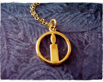 Gold Light Up My Life Candle Necklace - Gold Plate Candle Charm on a Delicate 14kt Gold Filled Cable Chain or Charm Only