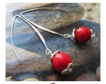 "Earring ""Maxi Pearl Howlite"" red on long silver plated clasp"