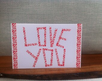 Love You Greetings Card, Card Ideal Boyfriend or Girlfriend, Handmade and Unique