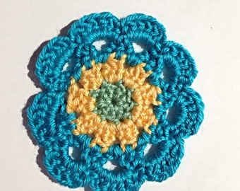 Japanese Flower Coasters, Crocheted Flower Coasters, blue, yellow, and green drink coasters