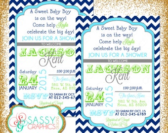 Boy Baby Shower Invite, Baby Shower invitation, digital invite, chevron shower invite, PDF invite, DIY invite, navy blue, green (Item #56)