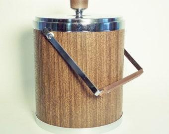 Mid Century Insulated Kromex Ice Bucket - Large Wood Tone Vinyl with Chrome - Walnut Knob