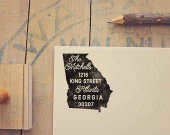 Georgia Return Address State Stamp, Personalized Rubber Stamp
