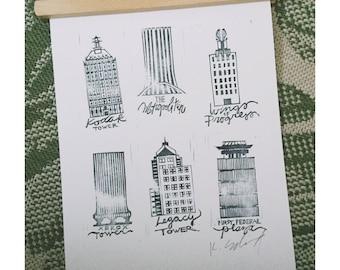 Rochester, NY Landmarks Print