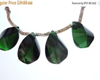 25% OFF Summer Sale 5 Pcs Outrageous Chrome Green Quartz Faceted Twisted Drops Briolette Size 19*10 MM