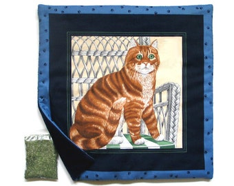Catnip Mat plus Catnip Cats Tabby Tiger  Refillable Reversible