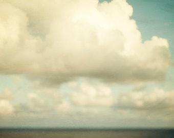 "Cloud Art, Nursery Decor, Landscape Photography, Nature Art, Cloud Print, Nursery Art, Blue, White, Summer 8x8 ""Send in the clouds"""