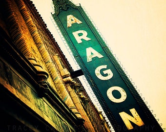 The Aragon Ballroom, Chicago Photography, emerald green wall art, Uptown, retro neon sign, vintage inspired,  home decor, Chicago art print,