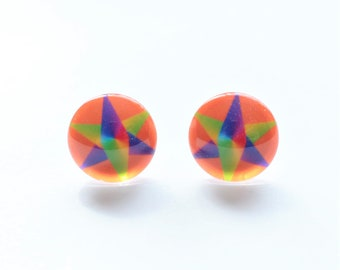 Orange Rainbow star stud earrings