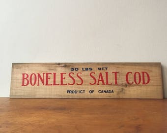 Vintage Wooden Salt Cod Crate Panel. Canada.