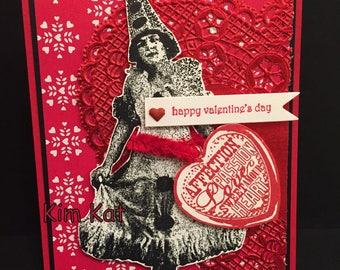 Valentine Card Pop Up Vintage Lady Hearts Embellished 3D Happy Valentine's Stampin Up Mixed Media Handmade
