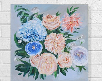"""Floral Painting Art Acrylic Original // """"12 x 12"""" inches on canvas"""