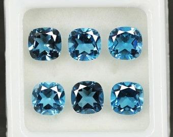 Natural AA Grade London Blue Topaz Cushion Cut Loose Gemstone Lot 6pc 7.40Ct - Jewelry Making