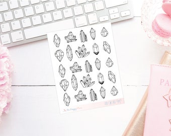 Black and White Crystal Planner Stickers