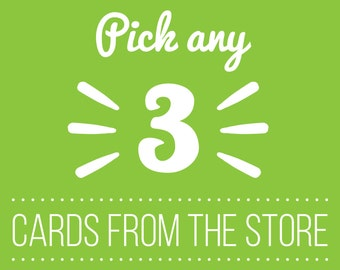 Choose Any 3 Cards, Any 3 Cards, Greeting Cards set, Recycled Cards, Funny Greetings Cards, Blank Cards