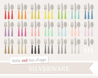 Utensil Clipart, Kitchen Clip Art Silverware Cooking Baking Food Dinner Plate Dining Tag Cute Digital Graphic Design Small Commercial Use