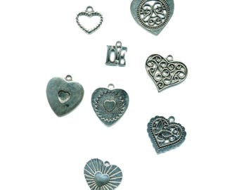 7 theme antique silver love charms