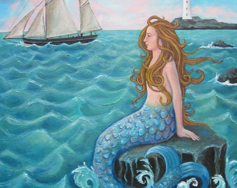 """Signed  Giclee Limited Edition Print 267x267mm """"On The Rocks"""", for those who love Mermaids! By Laura Robertson"""