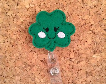 Shamrock Badge Reel, St Patricks ID Badge Reel, Felt Badge Reel, Badge Pull, Happy Clover, Green, CUTIE Dark 1117