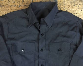 Vintage Navy Military Issue Anchor Button Up Shirt Black Sz 16