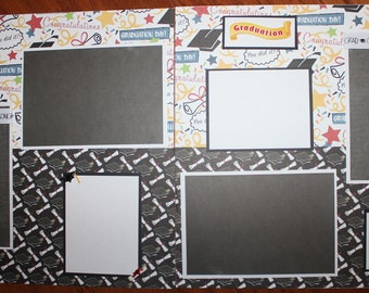 Graduation 12 x 12 premade scrapbook layout , 12 x 12 premade graduation scrapbook layout ,  assembled handmade double paged