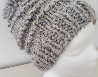 Gray Wool Pom Pom Hat