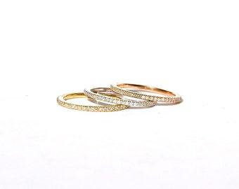 18k White Micro Pave Diamond Eternity Pinky/Midi Ring