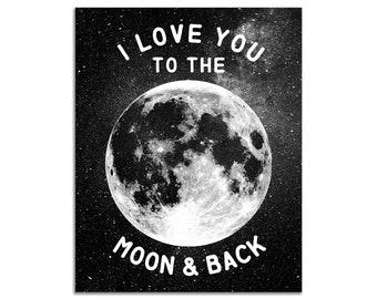 Moon and Star Nursery Wall Decor Print UNFRAMED 8 x 10 Art
