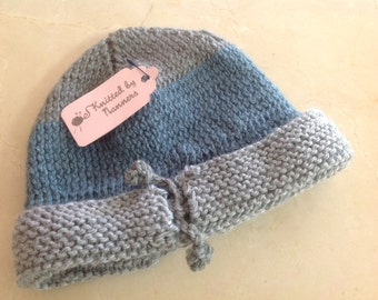 Hand knitted toddler boy's knit beanie