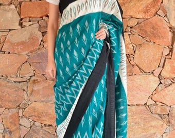 Pine Green And Black Ikat Sarees