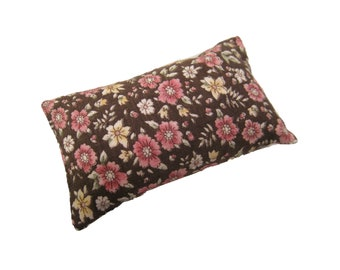 Vintage Floral Brown Pincushion filled with Emery Sand