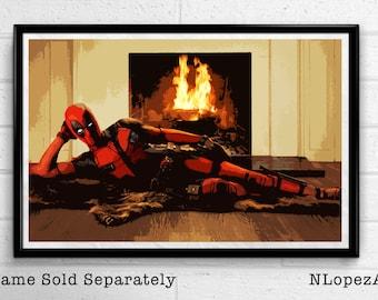 Deadpool Pin-up Marvel Illustration, Film, Movie, Pop Art, Superhero Poster, Comic Book Print Canvas