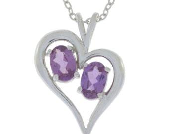 Alexandrite Oval Heart Pendant .925 Sterling Silver