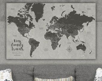 Push Pin World Map Canvas, Push Pin Map, Mothers Day Gift, Travel Gift, Push Pin Travel Map, Push pin World Travel Map